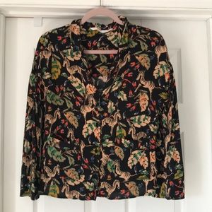 Zara Boxy Tropical Blouse